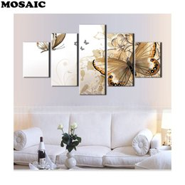 "mosaic house NZ - 5pcs 3D DIY Full Square round Diamond painting 5 Pieces""butterfly""Diamond mosaic Diamond Embroidery decoration house pictures"