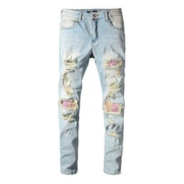 hip hop style ripped jeans NZ - American Streetwear Fashion Men Jeans Light Blue Ripped Jeans For Men Destroyed Denim Slim Pants White Washed Elastic Hip Hop Robin Jeans