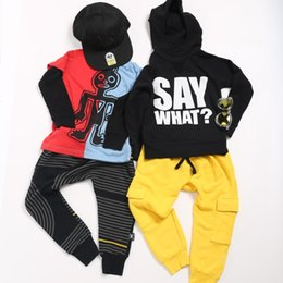$enCountryForm.capitalKeyWord UK - Kids Clothes Sets T-shirts Boys Tribal Dancers Sweatshirt Children Pants Tops Dizzy Skull Baby Girls Embroidered Cool T shirt