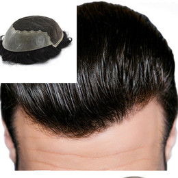 replacement hair NZ - Swiss Lace with Skin Toupee Q6 Base Men Toupee Human Remy Hair 8*10 Inch#1B Mens Hairpieces Various Color Replacement System For Men