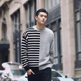 korean clothes sweater knits Australia - Patchworker Pullover Sweater Men Stripe And Solid Korean Men Fashion Clothing Mens Pullover Sweaters Hombre Vintage 4 Colors