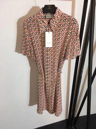 $enCountryForm.capitalKeyWord Canada - Brand summer dresses women jumpsuits rompers New bell print short-sleeved silk dress With hardware belt Temperament skirt women clothes