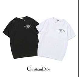 Vente en gros En gros nouveau col rond t-shirt nouvel été hommes et femmes mode casual t-shirt monogramme-imprimé O col demi-manche respirant