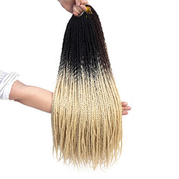 24 Inch Synthetic Braiding Hair Australia - 24 inch Ombre Senegalese Twist Hair Crochet braids 20 Roots pack Synthetic Braiding Hair for Women grey,bonde,pink,brown