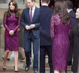 Formal Lace Knee High Dresses Australia - Elegant Purple Mother Of The Bride Dresses Full Lace High collar Long Sleeves Sheath Knee Length Women Formal Wear Wedding Guest Party Dress