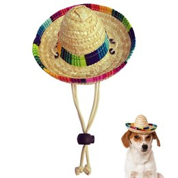 dog houses kennels accessories UK - Dogs Sombrero Hat Sun Party Hats For Mexican Style And Cats Funny Dog Costume Dog Houses Kennels Accessories