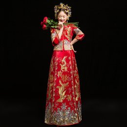 Wedding Bride Dress Chinese Australia - Red Bride Modern Cheongsam Chinese Traditional Dress Wedding Qipao Su Embroidery Dress Robe Chinoise Oriental Style Evening Gown