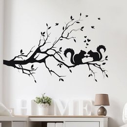 long wall stickers Australia - Hot Sale Squirrel On Long Tree Branch Wall Sticker Animals Cats 3D Art Decal Kids Room Home Decor Stylish New Adesivo De Parede