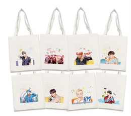 Canvas Prints Free Shipping Australia - 8pcs lot free shipping bts member new album canvas tote bag