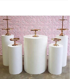 5pcs Round Cylinder Pedestal Display Art Decor Plinths Pillars for DIY Wedding Decorations Holiday on Sale