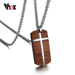 Necklaces Pendants Australia - Vnox Vintage Rosewood Men Pendant Necklace Real Wood Wooden Stainless Steel Cross Office Jewelry Drop Shipping J190526