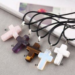 $enCountryForm.capitalKeyWord Australia - Fashion Christian Cross necklace For Women Healing Crystal Quartz Chakra Natural Stone crucifix Pendant Leather String Rope chains Jewelry