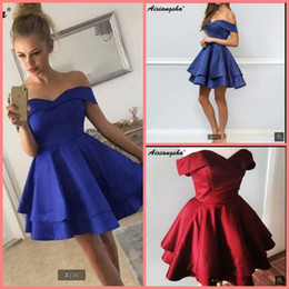 f82a899ad184 Off the Shoulder Royal Blue Burgundy Mini Homecoming Dresses 2019 Semi  Formal Junior Graduation Dress Satin Short cocktail Prom Dresses