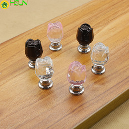 Fashion Drawer Handles Modern Australia - Dia 20mm Modern Fashion Creative Transparent Black Pink Rose Glass Crystal Drawer Shoe Cabinet Samll Knob Pull Handle