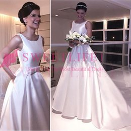 2018 Charming White Satin A Line Wedding Dresses Jewel Neck Sweep Train  Belt Bow Country Style Bridal Gown Custom Made Hot Sale 6054c7b4f455