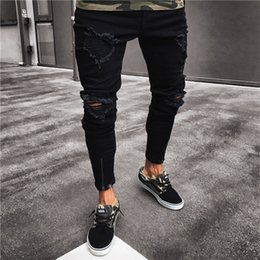 high waist destroyed jeans 2019 - Fashion Men's Ripped Skinny Jeans Destroyed Frayed Hollow Out Slim Fit Denim Pant Zipper Black cheap high waist des