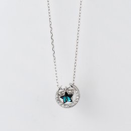 Blue Star Pendant Australia - MloveAcc New 925 Sterling Silver Blue Crystal Star Moon Necklaces & Pendants Pure Sterling Silver Choker Necklace Jewelry Collar