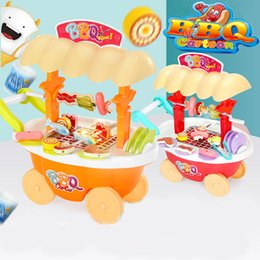 toy kitchen sets for kids NZ - Electric Rotating Grill BBQ Trolley with Sound Light Kids Kitchen Toys for Children Girls Boys Pretend Play Mini Food Toy Set