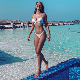 $enCountryForm.capitalKeyWord Australia - Bikini Woman 2019 Two Piece Women's White Red Green Swim Wear Female Swimsuit with Shorts Padded 2 Piece Swim Suit