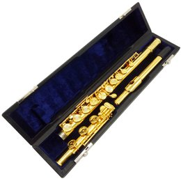 17 gold NZ - Flute Intermediate Gold Plated Professional French Buttons Designs C Key E Split Flutes 17 Holes Open Holes
