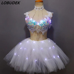 led tutus Australia - Colorful Sequins Rhinestones Bikini Tutu Skirt Set Nightclub Bar DJ Singer DS Costume Party Performance Outfit LED Dance Wears