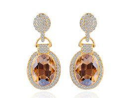 China Luxury Wholesale Jewelry Australia - European and American fashion crystal new luxury water drop diamond pave earrings wholesale