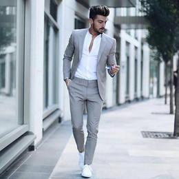 Male Fashion Suits Australia - Casual Grey Men Suits Fashion Street Smart Business Male Blazer Summer Beach Wedding Suits For Men Prom Party Best Man Suit 2PCS