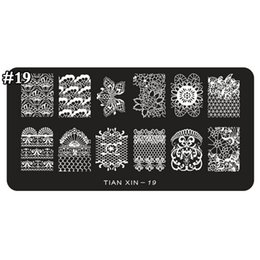 Discount stamped nail art design - 1pcs Nail Stamping Plates Flower Design Stamping Plate Nail Art Image Plate Stamp Plates Manicure Template TX19