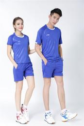 $enCountryForm.capitalKeyWord Australia - LI NING 6023+7018 Quick-drying Breathable Badminton Suit Short Sleeve round neck T-shirt shorts Running Basketball wear Men&Women Blue