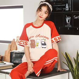 ae910aa70e 2019 new woman pajamas cotton summer short pijama cute panda printing  pajamas sets 2pcs home wear Simple sleepwear women set