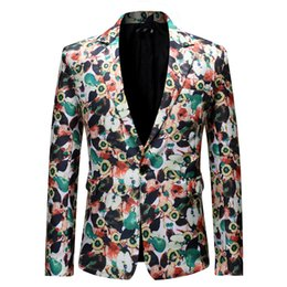 Wholesale new blazers for men for sale - Group buy 2020 Autumn New Fashion Printed Slim Fit Abstract Painting Suits Overcoat Jacket Streetwear For Male Party Wear Blazer Coats Men