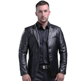 Wholesale slim fit genuine leather jacket resale online - AIBIANOCEL Brand Genuine Leather Jacket Men Slim Fit New Style Luxury Lapel Collar Male Leather Suits For Men Sheepskin Jacket CJ191213