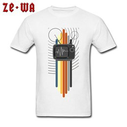 geek clothes UK - Adult T Shirt 80s Tops Men T-Shirt Colored Vintage Tees Television Signal Geek Clothes Latest Short Sleeve Normal Tshirts Cotton