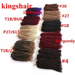 Bundle Pack Extensions Australia - 8inch 3 bundles pack Marly braid Synthetic Braiding hair with Ombre purple brown and blonde Malibob Crochet Hair extensions 90g pack