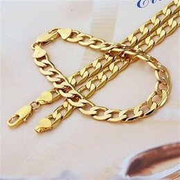 $enCountryForm.capitalKeyWord NZ - Mens or Womens Cuban Chain Necklace Bracelet Gold Filled Curb Link Chain Jewelry Set 8mm