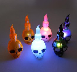 wholesale electronics Australia - Halloween props LED candles ghosthead electronic candles