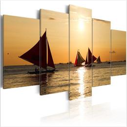 $enCountryForm.capitalKeyWord Australia - (No Frame)5 Panels Hot Sell Sailboats at Sunset Landscape Modern Home Wall Decor Painting Canvas Printing Art HD Print Painting