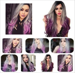 $enCountryForm.capitalKeyWord Australia - Ombre Purple Color Synthetic Wig for Women Body Wave Long Wigs Breathable Cap Cosplay Fashion Hair Style