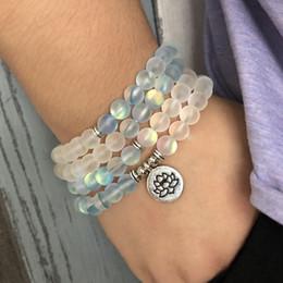 $enCountryForm.capitalKeyWord Australia - Matte Blue & White Color Sparkling Labradorite Stone Bracelet For Woman 108 Meditation Mala Lotus Necklace Ohm Bracelet Y19051403