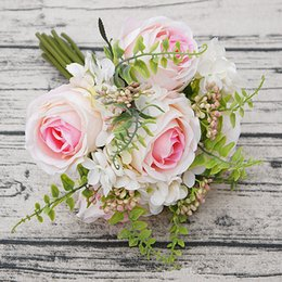 $enCountryForm.capitalKeyWord NZ - 1bunch Artificial Rose Hand Flowers Diy Rose Artificielle Flores For Wedding Decoration Bridal Babyshower Fake Flower Wreath