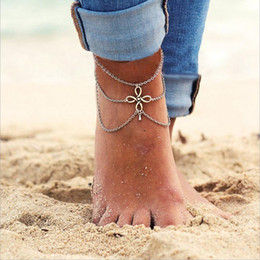 chinese sandals Australia - Casual Vintage Chinese Knot Ankle Bracelet Bohemian Tassel Multi-layers Water Drop Barefoot Sandals Foot Jewelry