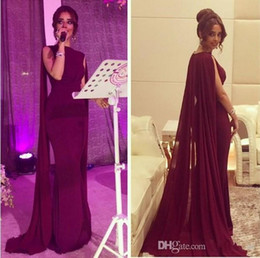 Pakistani sexy Prom online shopping - 2019 New Vintage New Sheath Red Carpet Celebrity Dresses with Long Chiffon Cape Wrap Arabic Pakistani Prom Evening Gowns Custom Made
