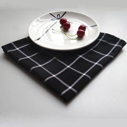 Rectangle Wedding Table Cloth Australia - Classic Black Grid Cotton Napkin Mat Tableware Fold Cloth Pad Wedding Party Table Cloth Mat Supplies 6 Pieces ePacket