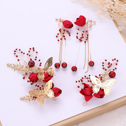 $enCountryForm.capitalKeyWord UK - Vintage Women Butterfly Jewelry Sets Wedding Hair Accessories Red Fabric Flower Headband Bridal Tiaras and Crown Earrings Set XH