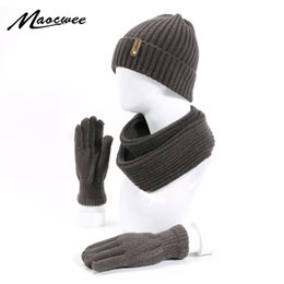 hat scarves glove NZ - Winter Scarf Hat Gloves Set For Women Man Knitted Wool Cotton 3 Pcs Sets Cap Scarves Warm Suit Ski Caps Skullies Beanies 2019