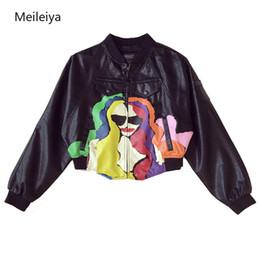 $enCountryForm.capitalKeyWord Australia - Spring Autumn 2019 New Korean Style Loose Portrait Graffiti Woman Pu Leather Jacket Clothe Short Printed Bat Sleeve Fashion Coat