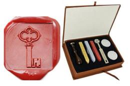 Wood Stamp Kit Australia - Vintage Key Wax Seal Sealing Stamp Sticks Spoon Gift Box Set Kit