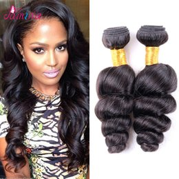 $enCountryForm.capitalKeyWord NZ - 8A Unprocessed Virgin Brazilian Loose Wave Hair Double Weft Black Color Dyeable Human Hair Extensions 4pcs lot Free Shipping pamina hair