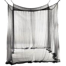 Großhandel 4-Corner Bed Netting Canopy Moskitonetz für Queen / King-Size-Bett 190 * 210 * 240 cm (schwarz) Bed Vorhang Raumdekoration