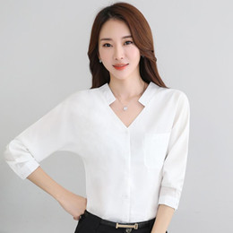 $enCountryForm.capitalKeyWord NZ - Women Elegant Summer Shirt Ol Formal V-neck Slim Solid Full Sleeve Chiffon Blouse Office Ladies Work Wear Tops 8275 Y19050501